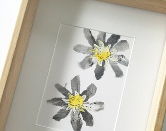 Floral art - Black and yellow daisy. Original Hand painted & stitching on paper
