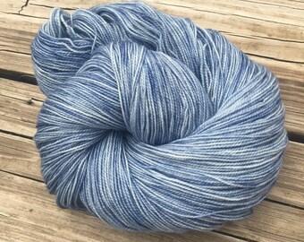 hand dyed sock weight yarn Tempest Shawl Length Super Skein Superwash Merino Cashmere Nylon MCN 600 yards fingering weight sky blue gray
