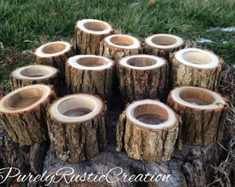 12 Rustic Tree Branch Candle Holders  - Rustic Wedding Decor - Wood Candle Holders - Rustic Reception Decor - Rustic Centerpieces