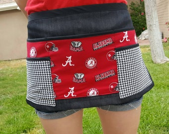 Alabama university waitress apron, crimson tide waist apron, florist apron, gardening apron, waitress apron, bartender aprons, teacher apron