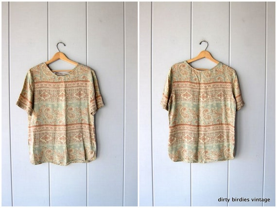 90s Minimal Blouse Tapestry Print Rayon Top Airy Abstract Blouse Short Sleeve Tee Pastel Spring Boho Minimal Vintage Top Womens Large