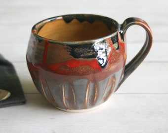 Earthy Coffee Mug in Multi Colored Glazes Carved Stoneware Pottery Coffee Cup 13 oz. Made in USA Ready to Ship