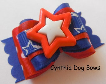 4th of July Dog Bow 7/8-  Red White Blue with Star Center