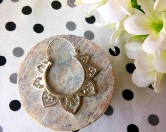 Hoop lotus Brass Earrings, silver color Lotus design. Brass Tribal Earrings, Boho Earrings. Hoop Earrings. Lotus Earrings, Bohemian jewelry.