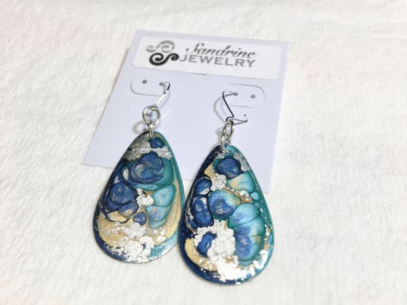 SJC10082 - Handmade drop blue turquoise silver enamel silver plated earrings with abstract designs