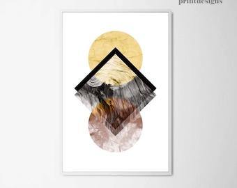 Geometric Modern Print, Scandinavian Poster, Modern Wall Art Minimalist Print, Geometric Poster, Digital Print, Printable Geometric Art