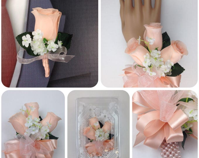 New Artificial Bellini Rose Corsage, Bellini Rose Mother's Corsage, Peach Corsage, Peach Wedding Flowers