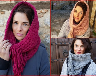 circle scarf, cowl scarf, loop scarf, 3 colours, infinity scarf, chunky knitting scarf, knitted scarf, gift for her, fringes scarf, scarf