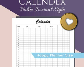 Bullet Journal Calendex and Future Log Printable, Happy Planner Size. PDF Planner Inserts for your Calendar Index, Year Planner, or Bujo