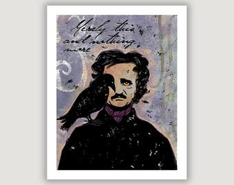 Edgar Allan Poe, macabre art, Halloween art, Merely This, The Raven, pastel goth, library wall art, literature print, poetry, goth wall art