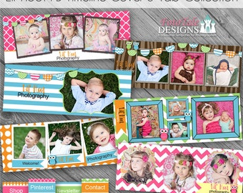 INSTANT DOWNLOAD Lil' Hoot Facebook Timeline Cover Collection - 6 Custom templates for FB Timeline Covers