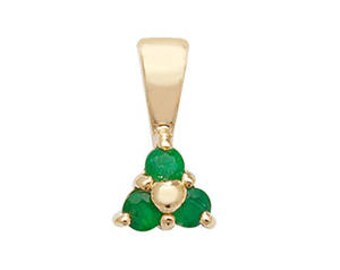 Emerald 3 Stones Pendant May Birthstone