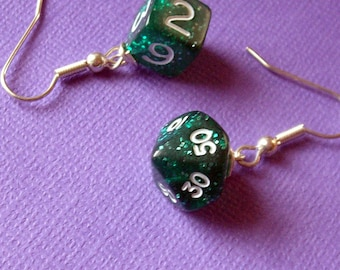 D6 D10P Dice Earrings - Green Glitter - Geek Gamer DnD Role Playing RPG - Paw & Claw Designs