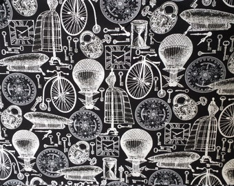 1 Yard HTF Steampunk Elements of Style M'Liss Fabric Black and White