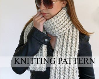 Beginner KNITTING PATTERN - Easy Knitted Scarf Pattern - Knit Scarf Pattern - Beginner Scarf Pattern - Neckwarmer - Instant Download Pattern