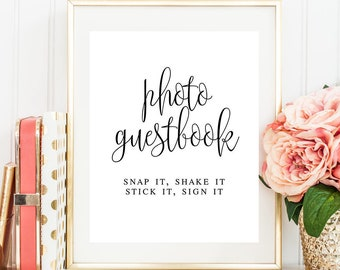 Wedding photo guest book sign Snap it shake it sign it Instant photo guest book Rustic wedding sign Modern Instant download download #vm41