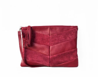Leather Clutch in Cranberry / Leather Clutch / Leather Clutch Bag / Envelope Clutch /Clutch Bag / Leather Purse / Clutch Purse