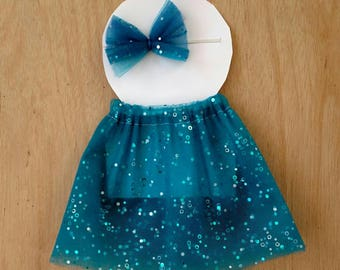 Doll outfit, blue sparkle pattern doll outfit, dress up outfit, dress up skirt, dress up headband, doll clothes