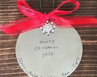 Personalized Hand Stamped Christmas Ornament