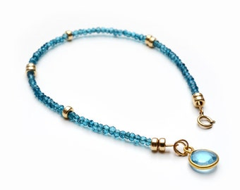 November Birthstone, Swiss Blue Topaz Bracelet, Gemstone Jewellery, Her Birthday Gift, Women Jewellery, 14K gold filled, Delicate Bracelet