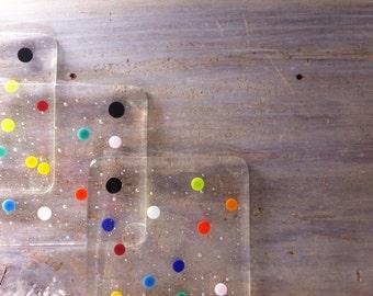 Glass Coasters Set, Holiday coasters, Fused Glass Art, Polka Dot Decor, Hostess Gift