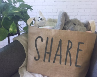 toy storage basket/ burlap storage bin/ farmhouse style storage/ playroom storage/ kids storage/ fabric storage bin/ share/ preschool