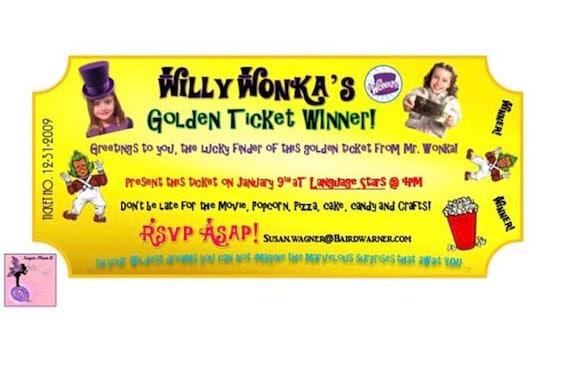 Willy wonka golden ticket birthday party invitations filmwisefo