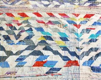 "Vintage Moroccan Kilim - BOUCHEROUITE  ""geometric"""
