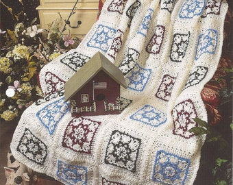 Pattern Vintage Afghan Blanket Crochet Star Bright - Annie's Quilt Afghan - Home Decor, Bedspread, Couch Sofa Throw, Bedding, Granny Square