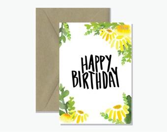 Happy Birthday Greeting Card | Bright Sunflowers Gift Card