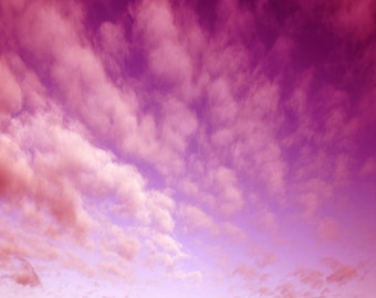 Vintage Red Sky Backdrop - white cloud, blue sky - Printed Fabric Photography Background G1316