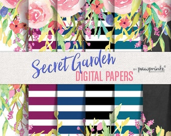 Floral Digital Paper: Watercolor/Stripes-Black White,Navy,Beet,Teal,Chalkboard-Invitations,Backgrounds,Scrapbook,12x12 Secret Garden