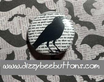 """Halloween Edgar Allan Poe Raven - 1.25"""" or 1.5"""" - pinback button - magnet - keychain"""