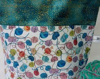 Sock to Shawl WIP Project Drawstring Wedge Bag, Multi Colored Yarn Balls, Strings of Yarn, Knitting, Yarn Bowl, knit, crochet