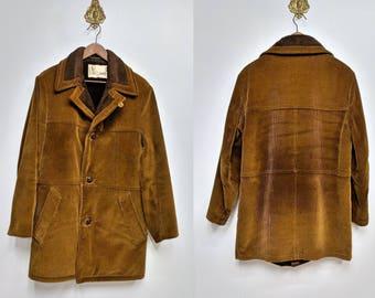 Vintage 70's Men's Brown Corduroy Jacket/70's Lakeland Coat/Overcoat/Faux Shearling Lined Coat/Size 36