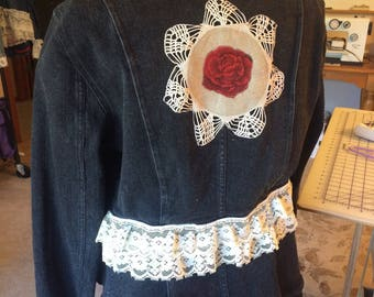 denim, embellished, jacket, medium