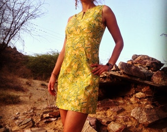 SALE-Yellow Block Print Cotton Ibiza Summer Short Dress