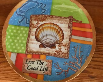 "Beautifully Decorated With Sea Life Creatures* 10"" Hard Plastic Lunch/Dinner Plate* ""LIVE The Good Life"""