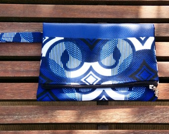 """Evening clutch colorful """"Granada"""". Faux leather and wax. Navy blue yellow"""