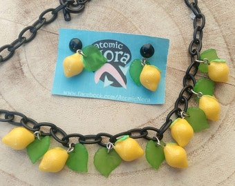 Earrings and necklace/vintage inspiration years 40 50/vintage/sets by Atomic Nora/Limoni lemons/Parure
