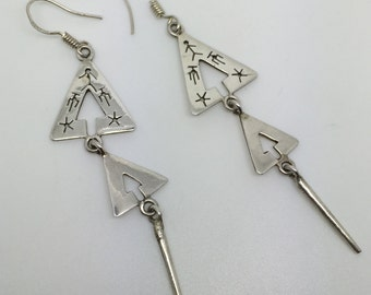 silver dangle triple earrings,silver earrings,triple earrings,silver jewelry,tribal earrings,gypsy earrings,boho earrings,bohemian jewelry