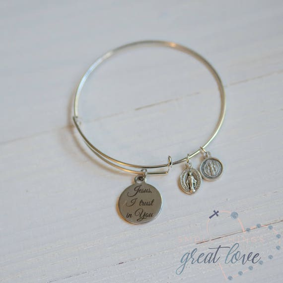 Small Things Great Love Jesus, I Trust in You Bangle