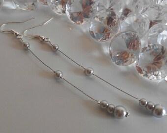 Wedding earrings grey pearls