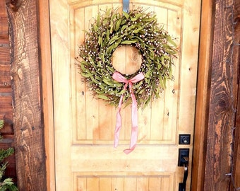Spring Wreath-Spring Door Decor-Summer Wreath-PINK Twig Wreath-SCENTED Door Wreath-Summer Wreaths-Rustic Wreath-Custom Gifts made USA