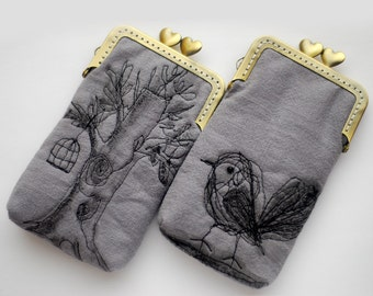 iPhone Case iPhone sleeve gadget case/Glasses Case (iPhone X / 8 / 8 Plus, Samsung Galaxy S8 etc.) -- Free Motion Embroidery Bird and tree