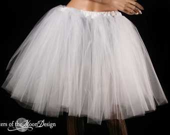White Ice Romance dance tutu skirt extra poofy knee length Adult petticoat costume bridal wedding  --You Choose Size -- Sisters of the Moon
