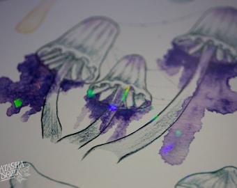 Holographic Watercolor Mushrooms Print