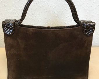 Stunning 1950s brown suede top handled bag with snakeskin embellishment