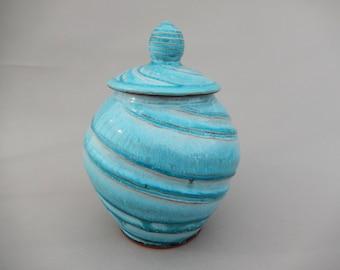 Lidded Turquoise Ceramic Jar - Handmade Earthenware Pottery Urn
