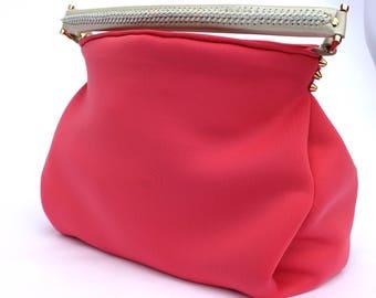 Pink Scuba Hobo Bag Leather Strap OOAK Handmade handbag tote bag